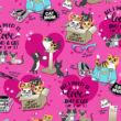 """Majica s printom i V izrezom """"Love And A Cat"""" - DK852-LVAC"""