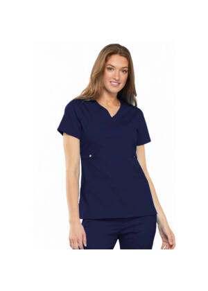 Majica s preklopljenim V-izrezom - 21701-NAVV