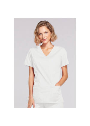 Majica s prešivenim preklopom - 4728-WHTW