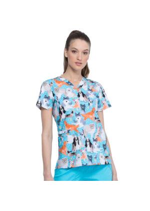 Majica s V-izrezom - CK616-CARM