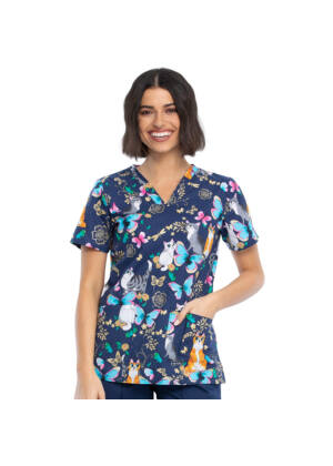 Majica s V-izrezom - CK651-PUDY