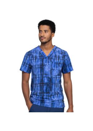 "Muiška majica s V izrezom ""Plaid Tie Dye"" - CK902-PLTY"
