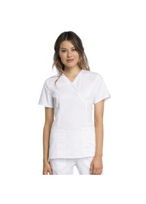 Majica s preklopljenim V-izrezom - WW775AB-WHT