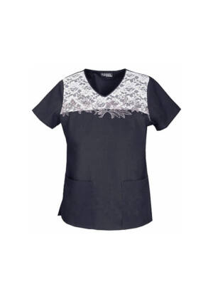 Izvezena majica s V-izrezom - 3603-BLKB