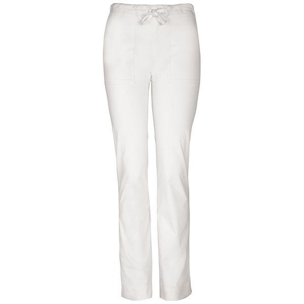 Srednje visoke Slim hlače s vezicom - 4203-WHTW