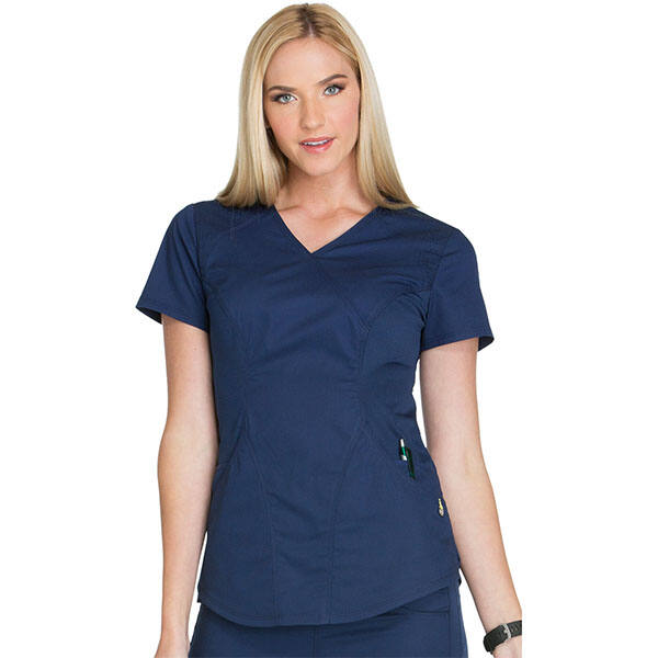 Majica s preklopljenim V-izrezom - CK603-NAVV